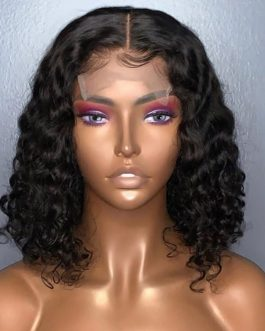 MALAYSIAN JERRY CURLSLOOSE CURL 3-WAY PARTING LACE BOB WIG